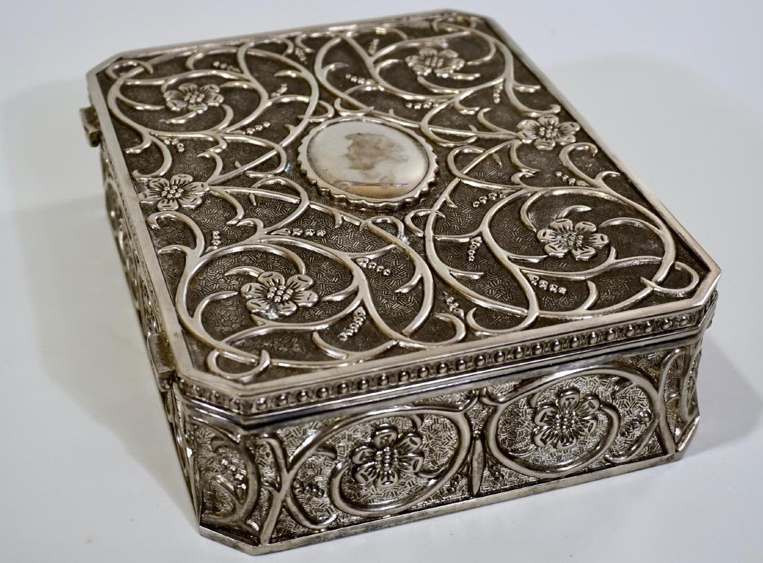 Embossed Cast Metal Silver Plated Jewelry Box Divided - 7