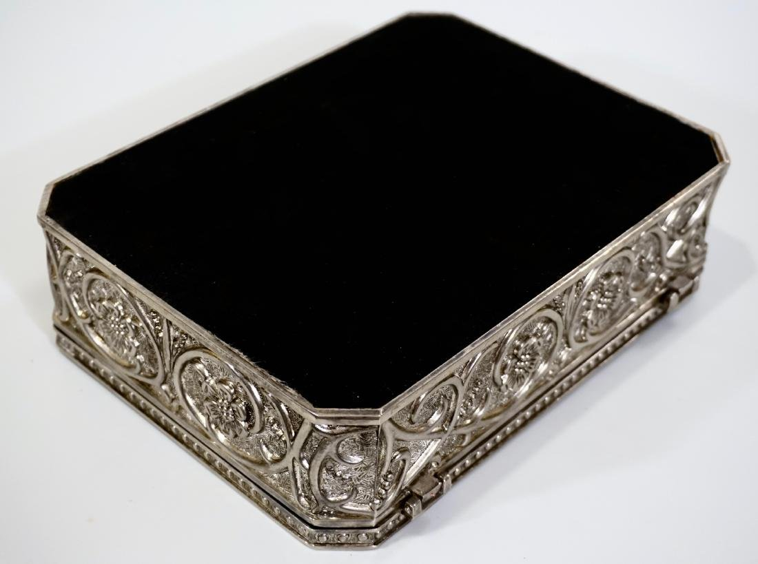 Embossed Cast Metal Silver Plated Jewelry Box Divided - 8