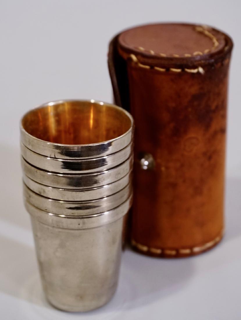 Vintage Chrome Gold Plated German Shot Glasses Leather - 3