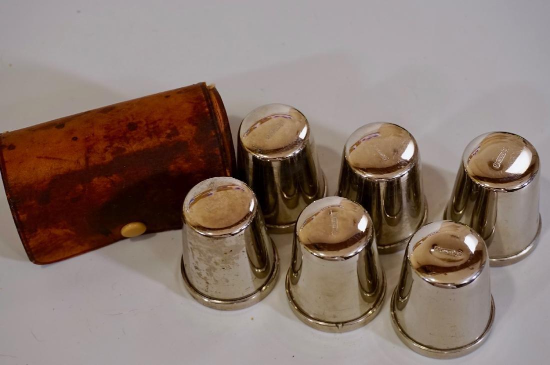 Vintage Chrome Gold Plated German Shot Glasses Leather - 5
