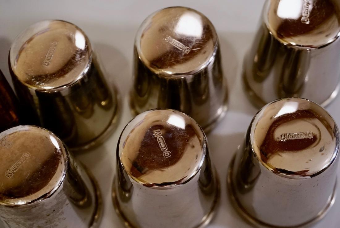 Vintage Chrome Gold Plated German Shot Glasses Leather - 6
