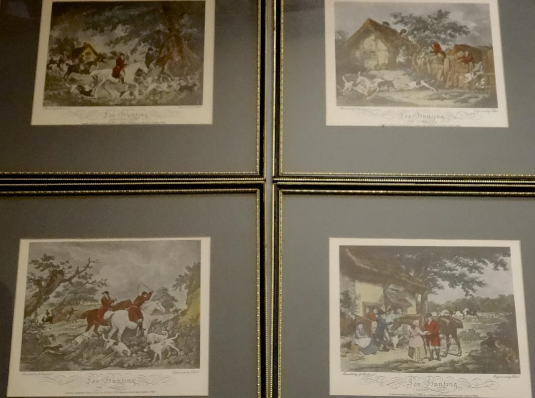 Lot of 4 English Fox Hunting Scene Framed Prints