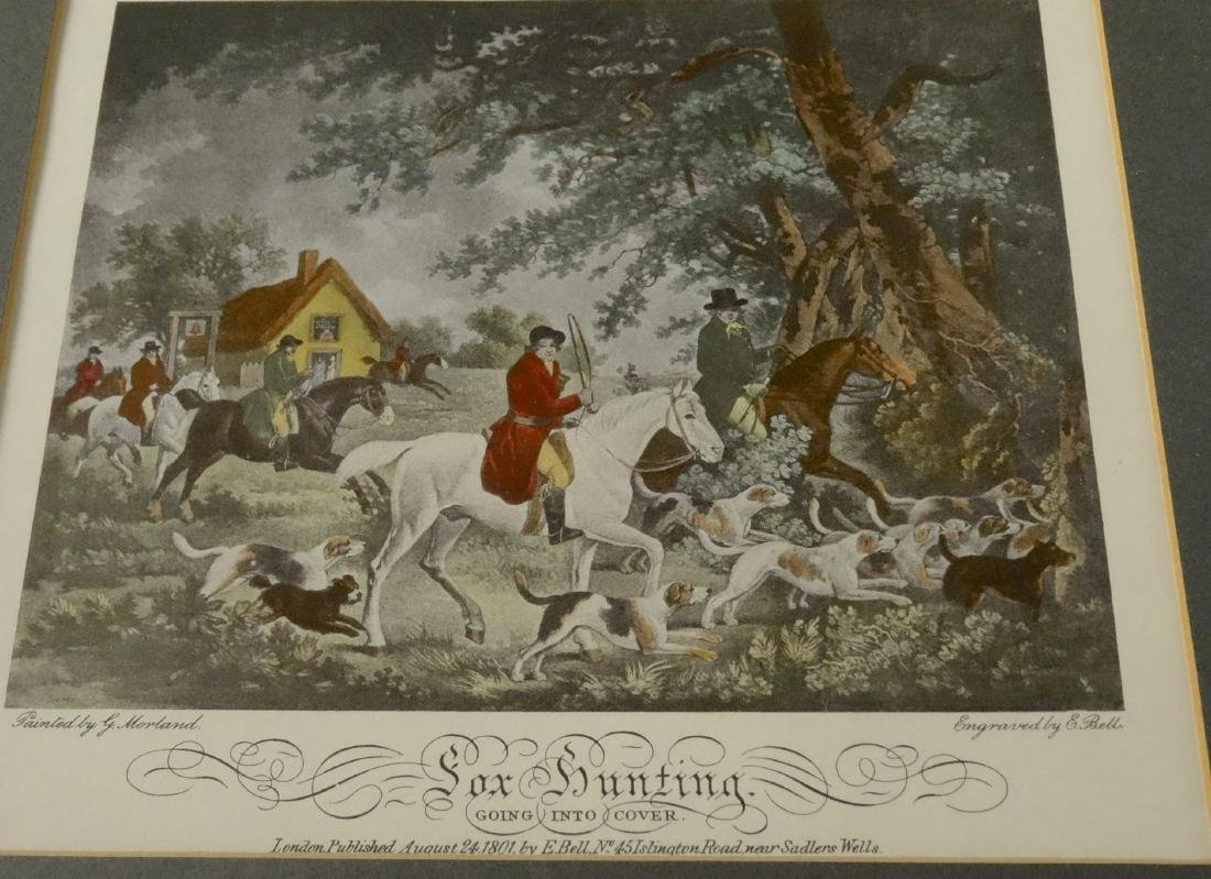 Lot of 4 English Fox Hunting Scene Framed Prints - 4