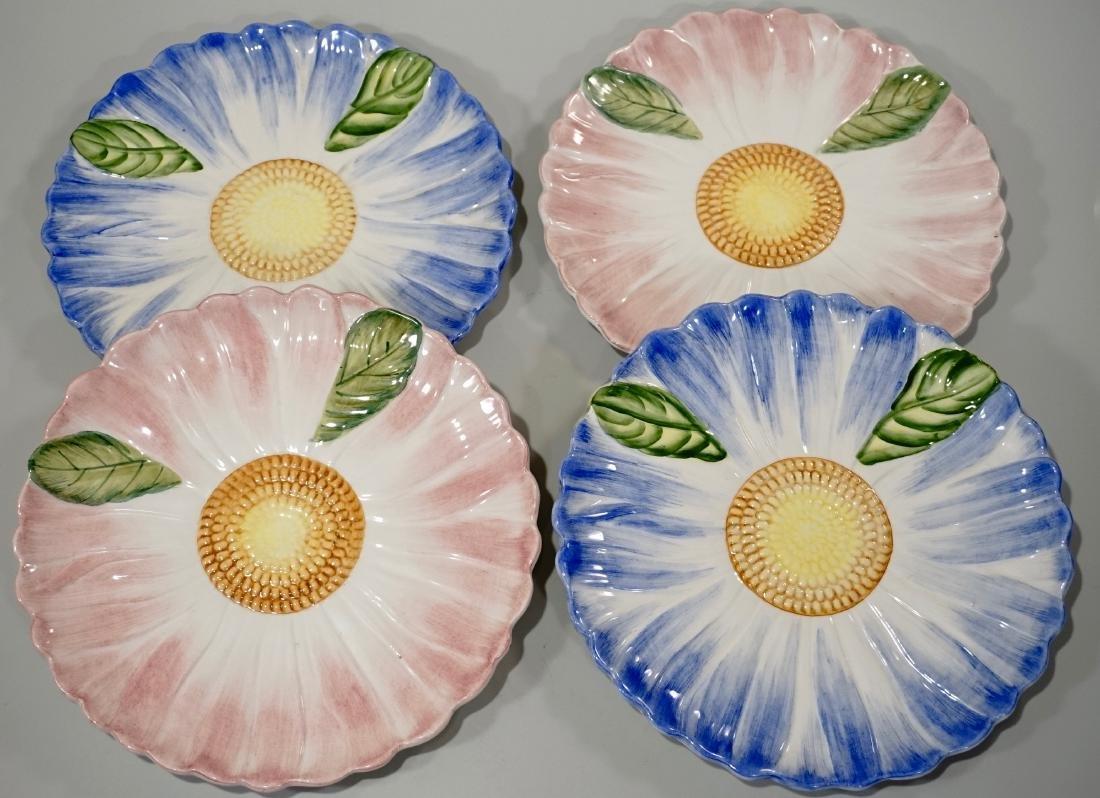 Italian Pottery Flower Plate Lot of 4 Embossed Ceramic