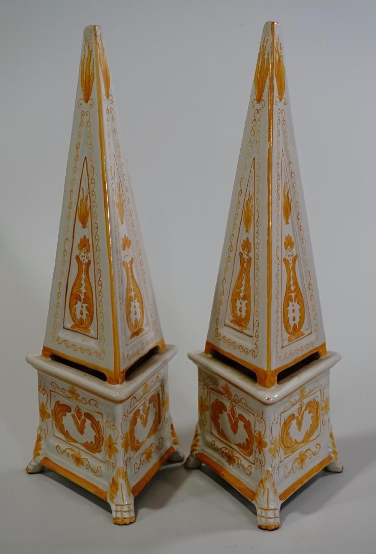 Italian Majolica Obelisk Hand Painted Enameled Pottery