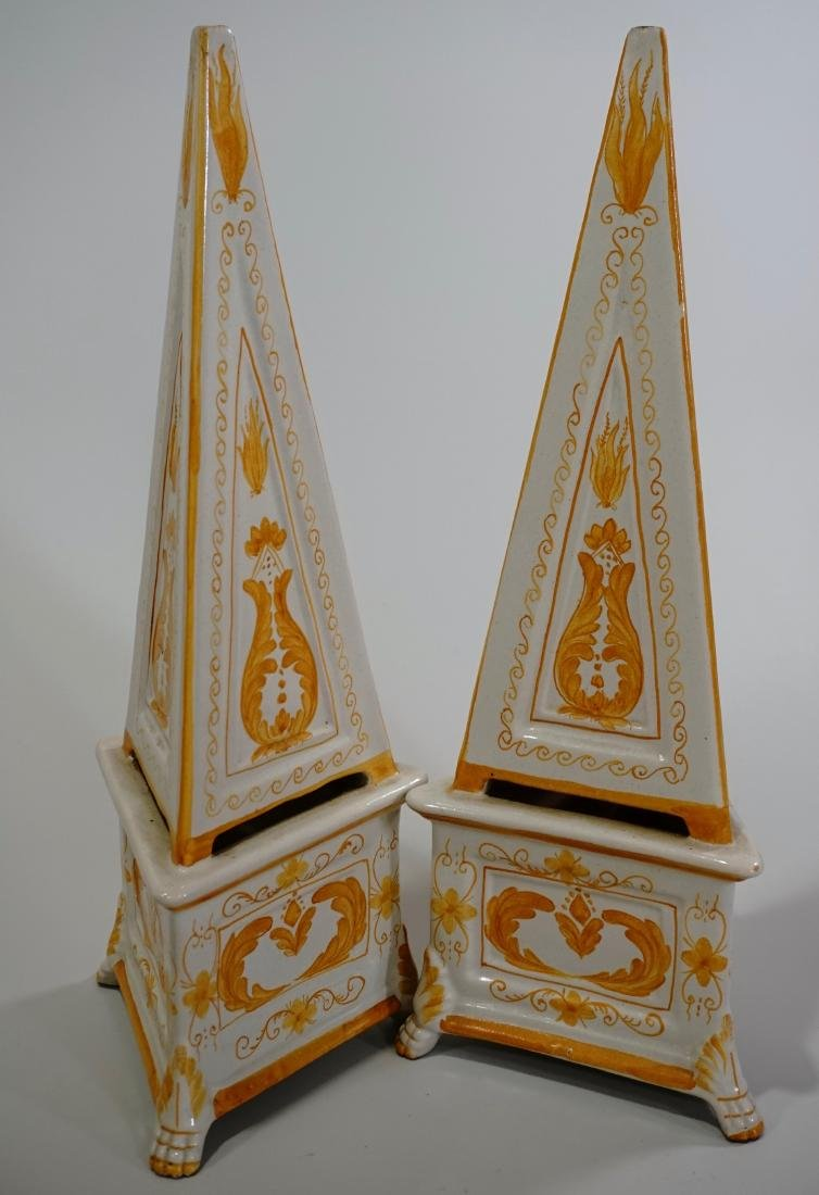 Italian Majolica Obelisk Hand Painted Enameled Pottery - 2