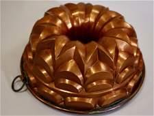 Antique Hammered Copper Kitchen Mold Bundt Cake Baking