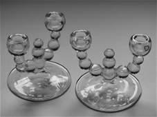 Art Deco Glass Optic Balls Candelabra Candleholders