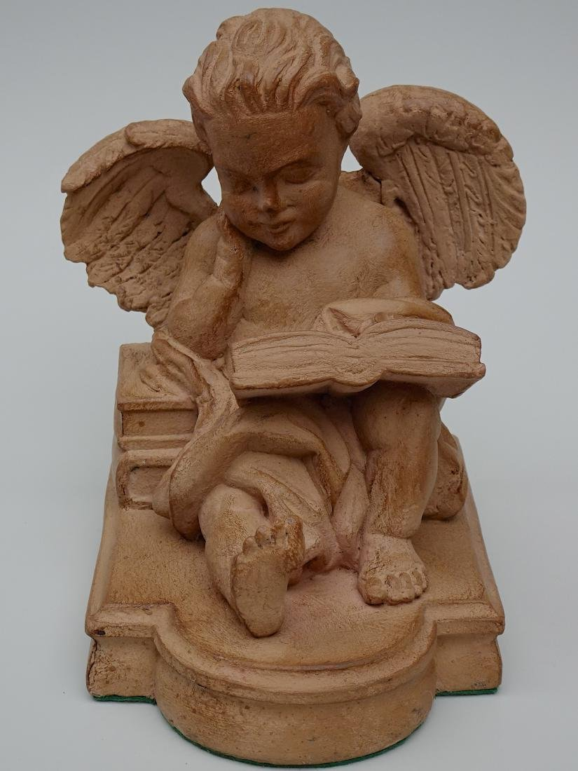 Vintage French Reading Angel Figurine Bookend Signed - 3