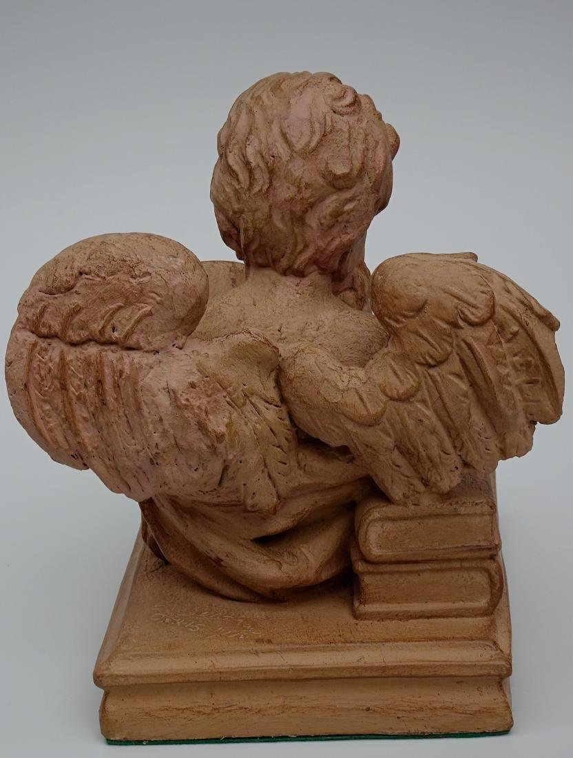 Vintage French Reading Angel Figurine Bookend Signed - 4