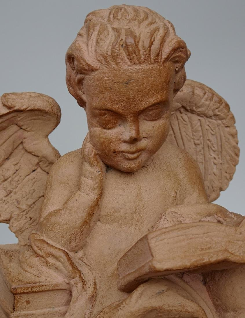 Vintage French Reading Angel Figurine Bookend Signed - 6