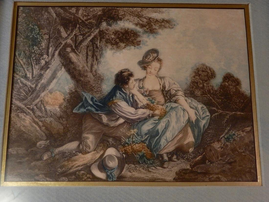 Antique Colored French Rococo Engraving Shadow Box - 2