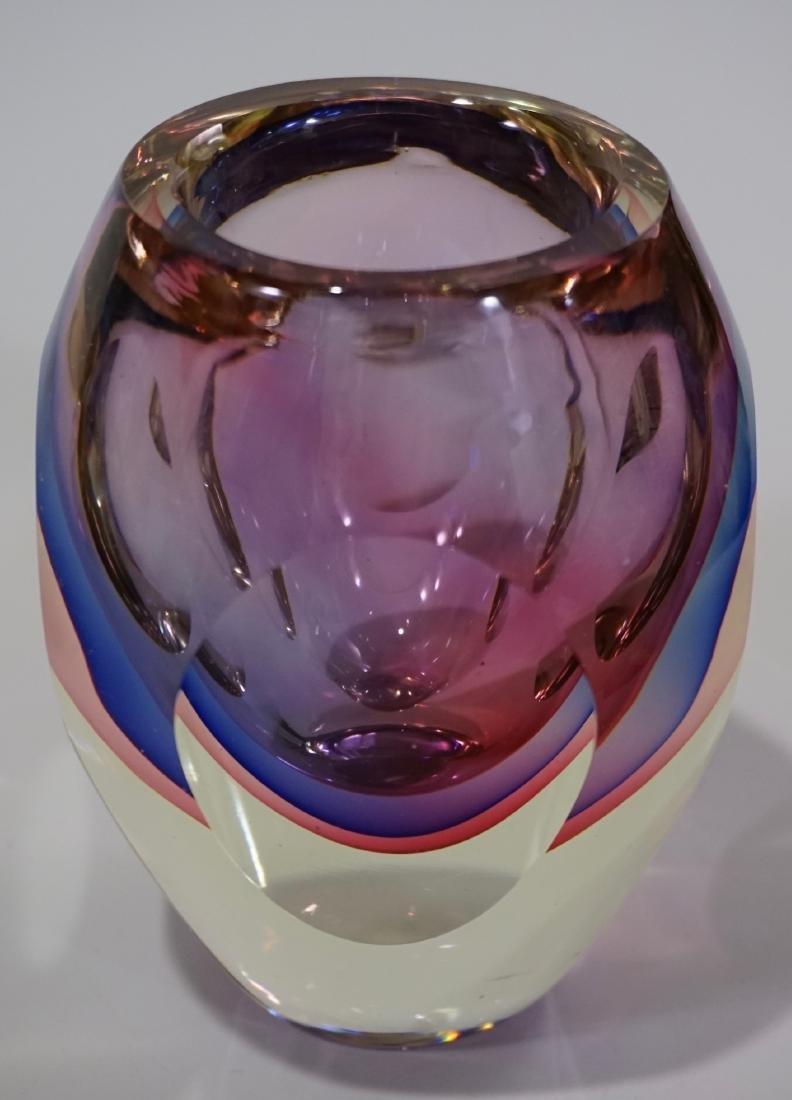 Murano Glass Flavio Poli Sommerso Faceted Vase