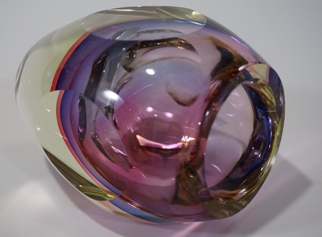 Murano Glass Flavio Poli Sommerso Faceted Vase - 4