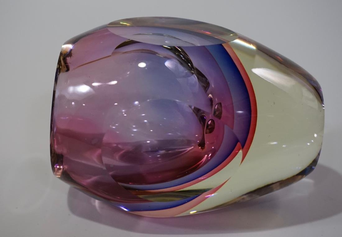 Murano Glass Flavio Poli Sommerso Faceted Vase - 5