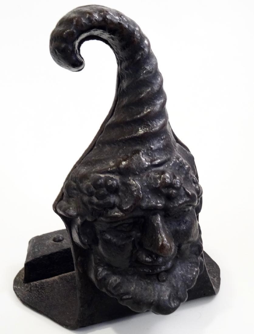 Antique Gnome Head Cast Iron Doorstop Leprechaun - 3