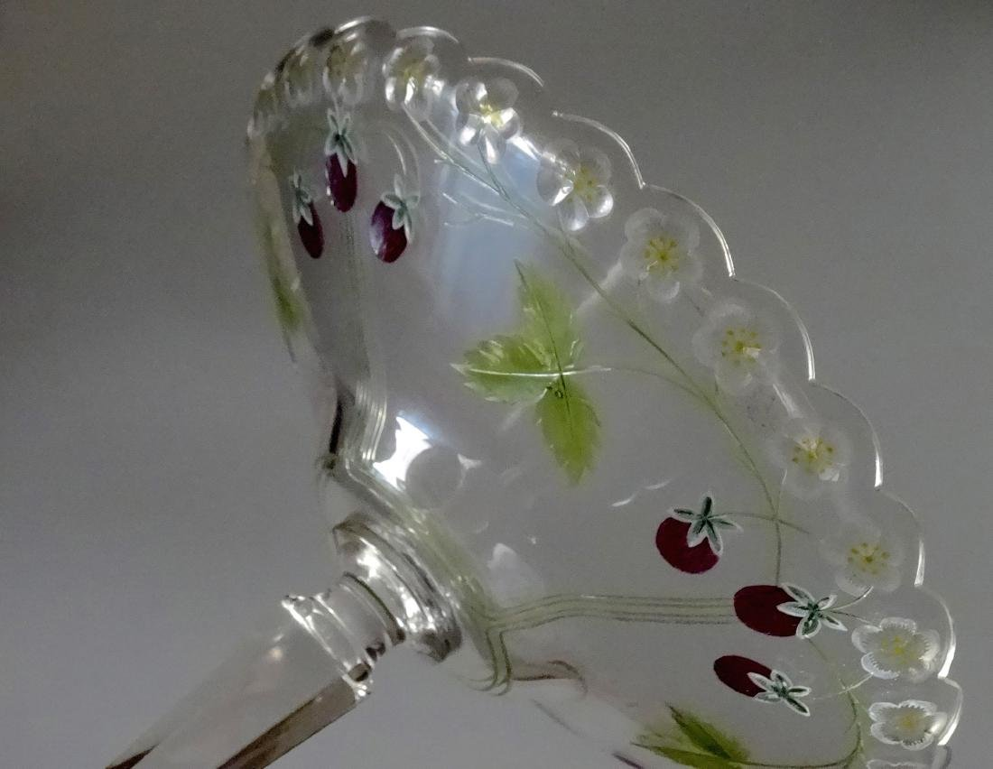 Antique c.1900 Pairpoint Strawberry Tall Compote Art - 10