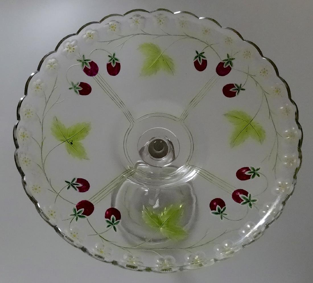Antique c.1900 Pairpoint Strawberry Tall Compote Art - 7