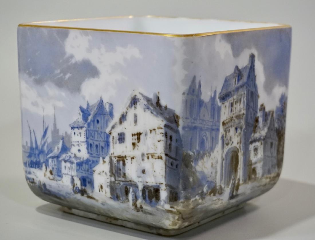 Fine Hand Painted Porcelain Cachepot Square Planter
