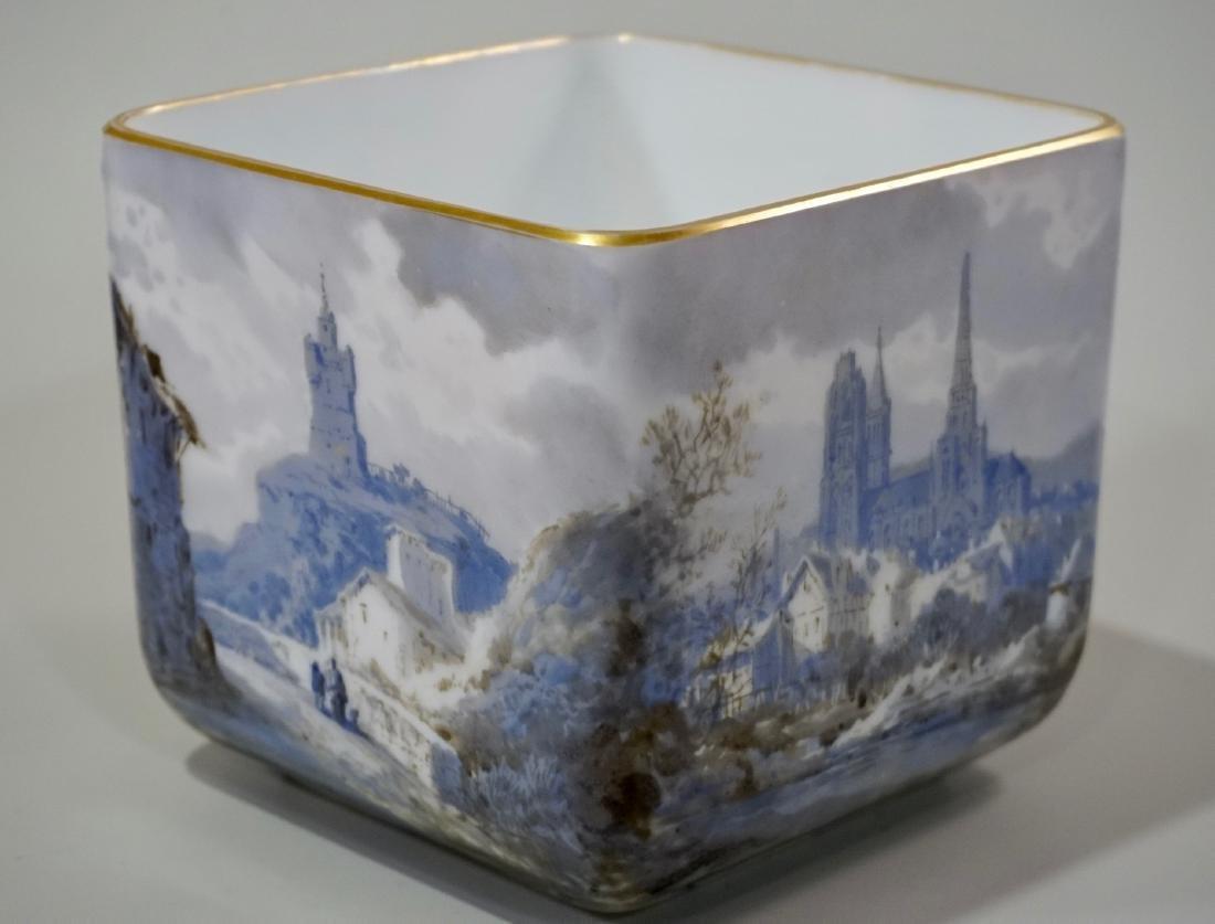 Fine Hand Painted Porcelain Cachepot Square Planter - 2