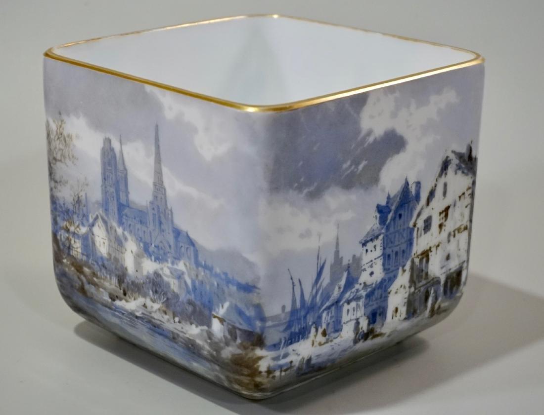 Fine Hand Painted Porcelain Cachepot Square Planter - 3