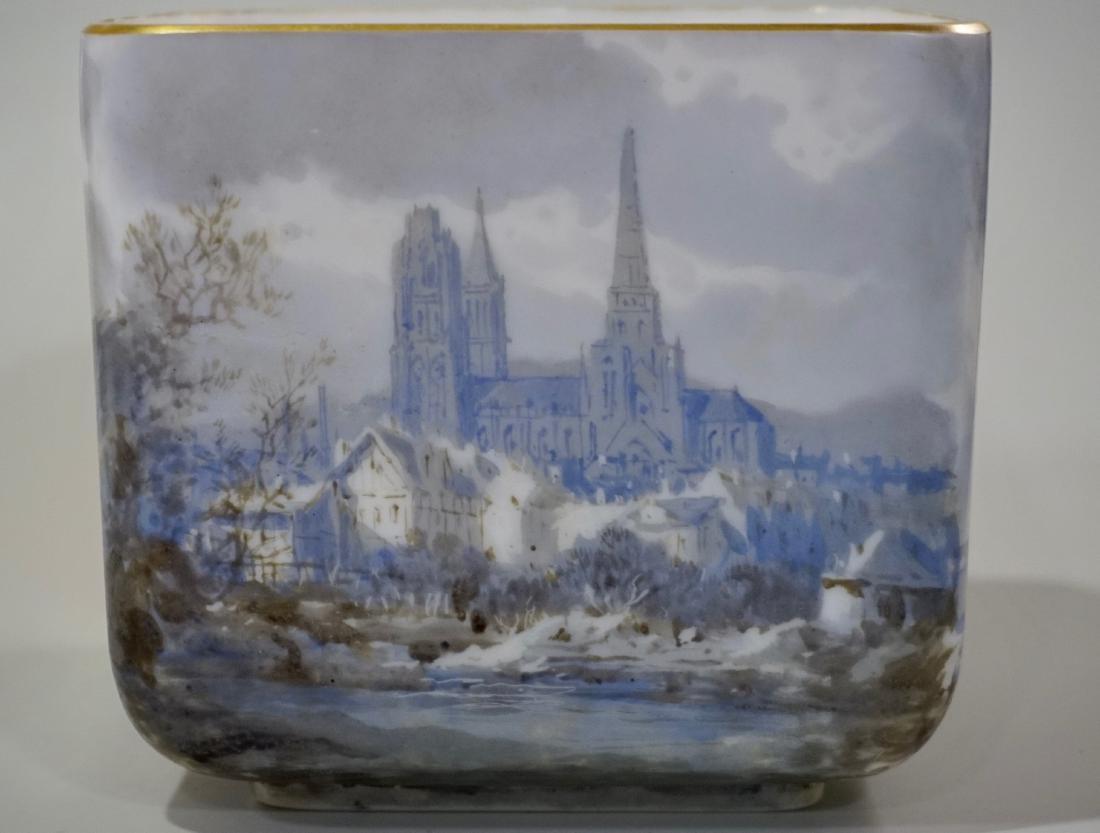 Fine Hand Painted Porcelain Cachepot Square Planter - 4