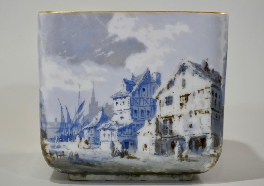 Fine Hand Painted Porcelain Cachepot Square Planter - 5