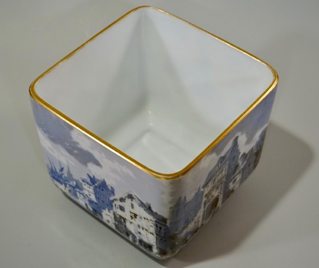 Fine Hand Painted Porcelain Cachepot Square Planter - 6