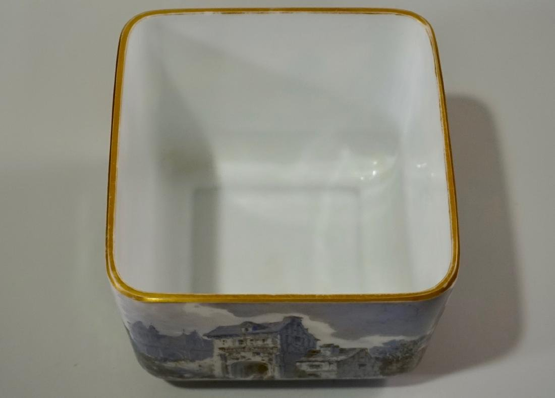 Fine Hand Painted Porcelain Cachepot Square Planter - 7