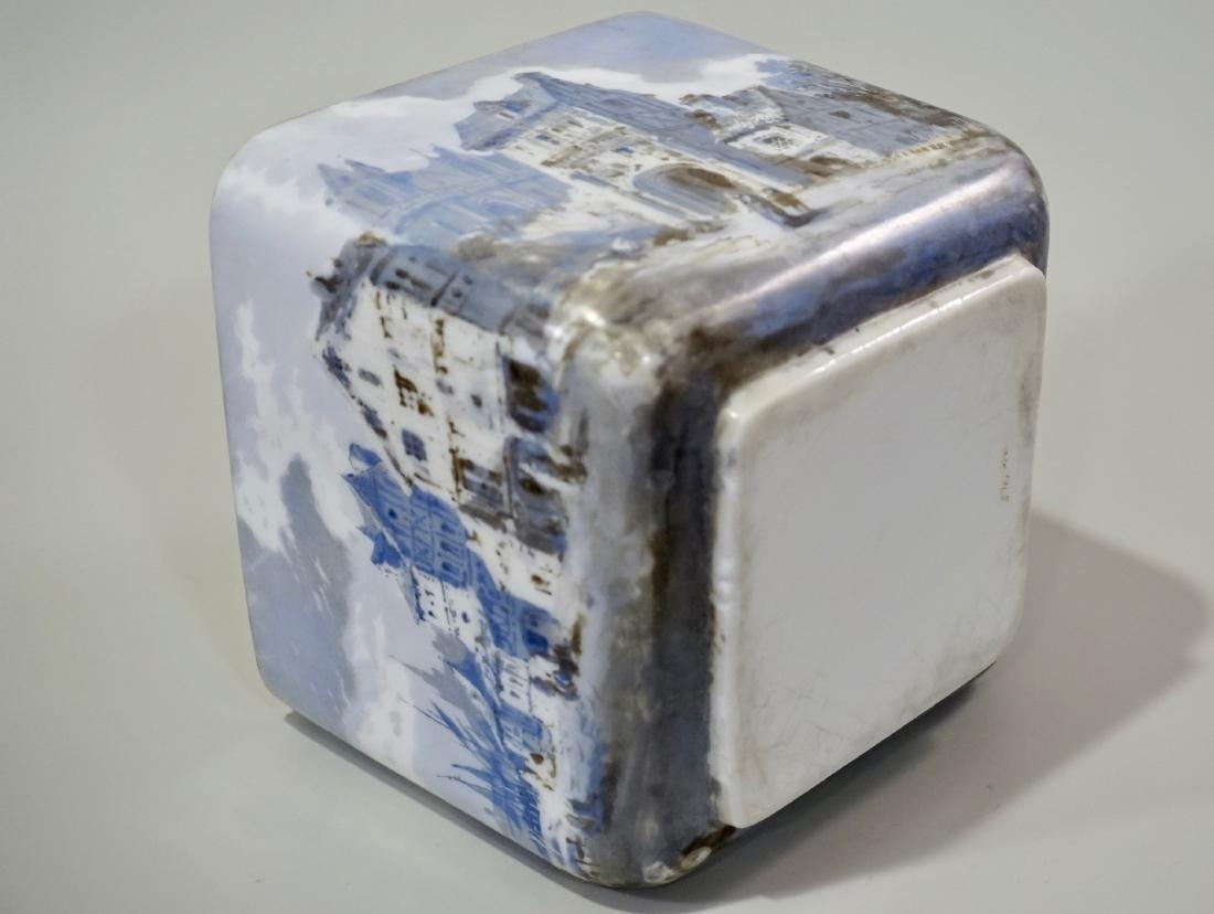 Fine Hand Painted Porcelain Cachepot Square Planter - 8