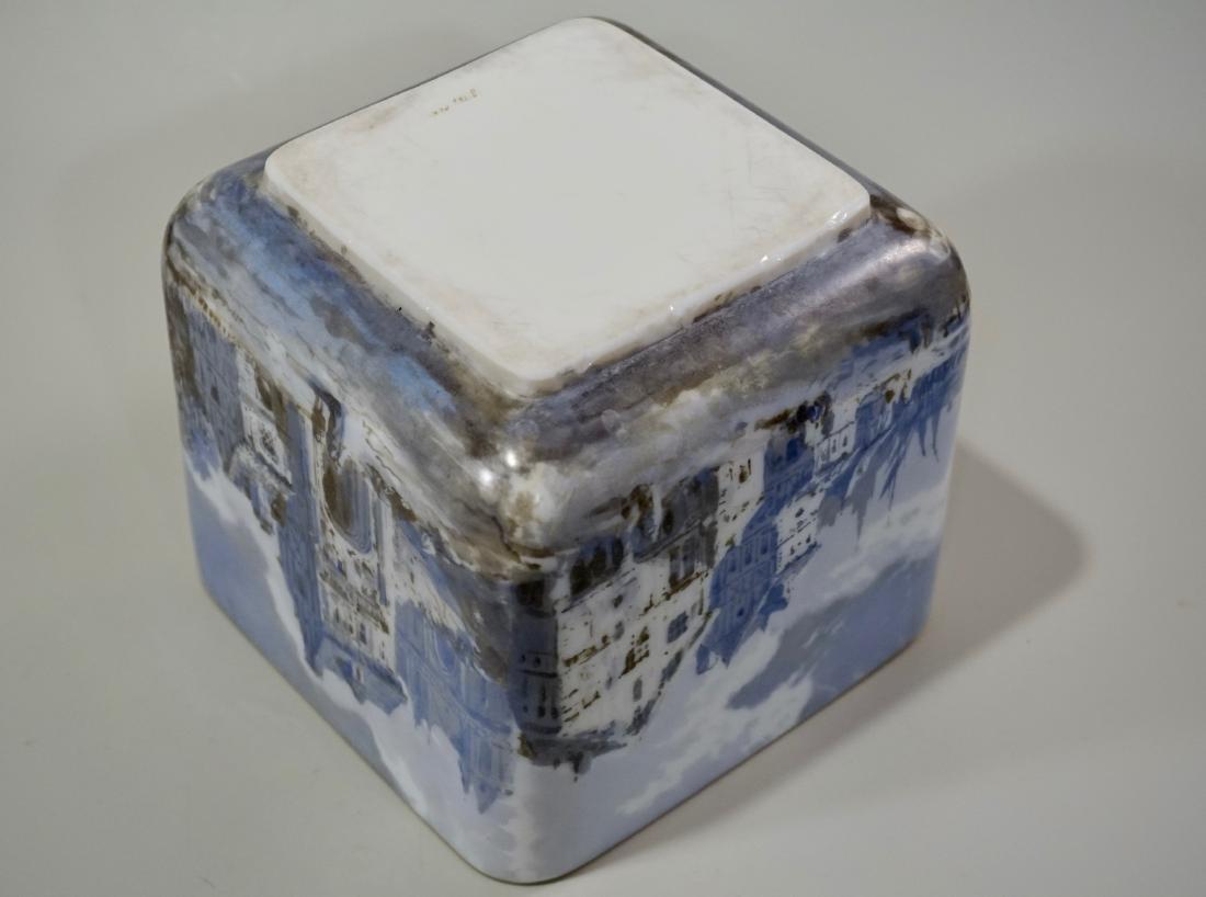 Fine Hand Painted Porcelain Cachepot Square Planter - 9