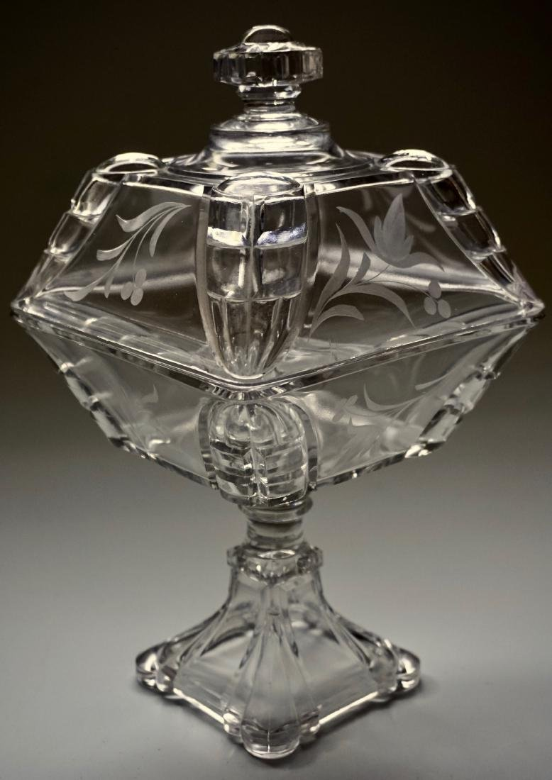 Antique Pressed Glass Lid Covered Compote Pedestal Dish