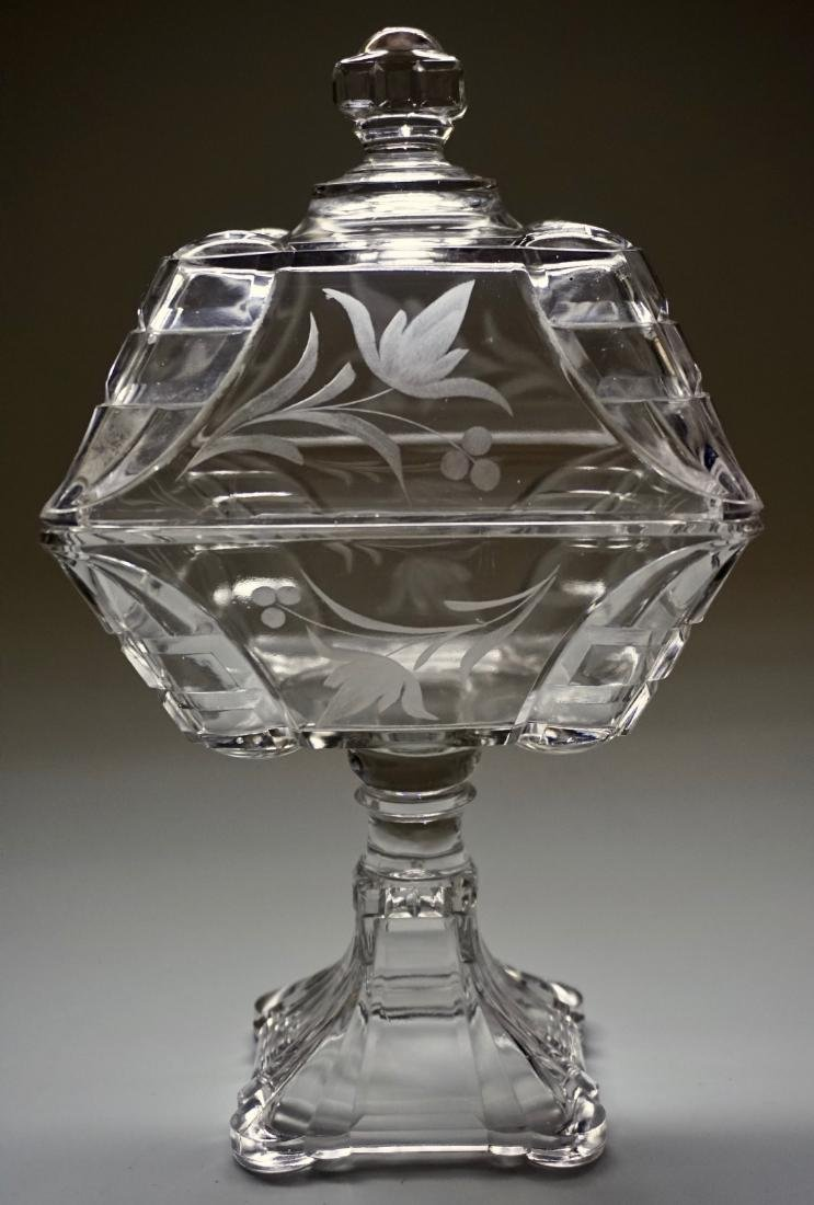 Antique Pressed Glass Lid Covered Compote Pedestal Dish - 2