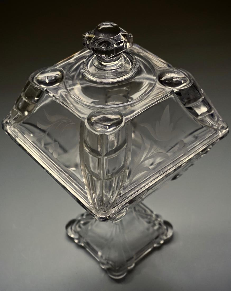 Antique Pressed Glass Lid Covered Compote Pedestal Dish - 3