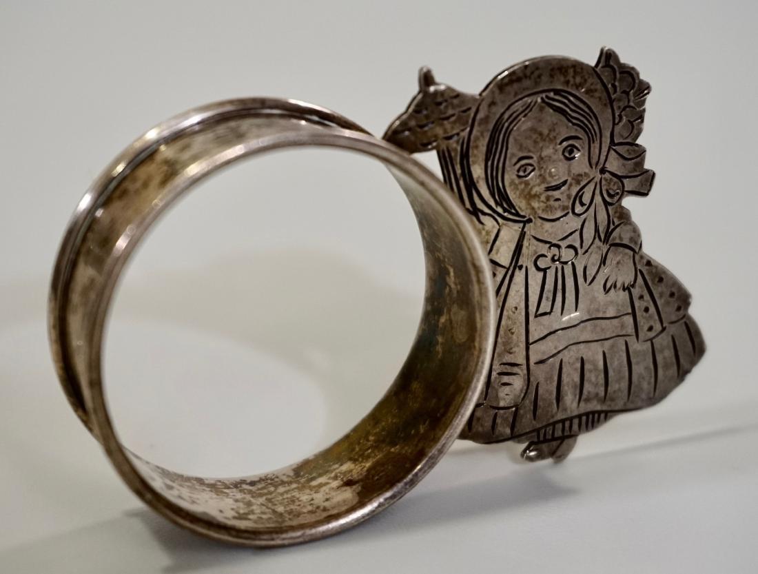 Sterling Silver Parasol Girl Napkin Ring Signed Sara - 3
