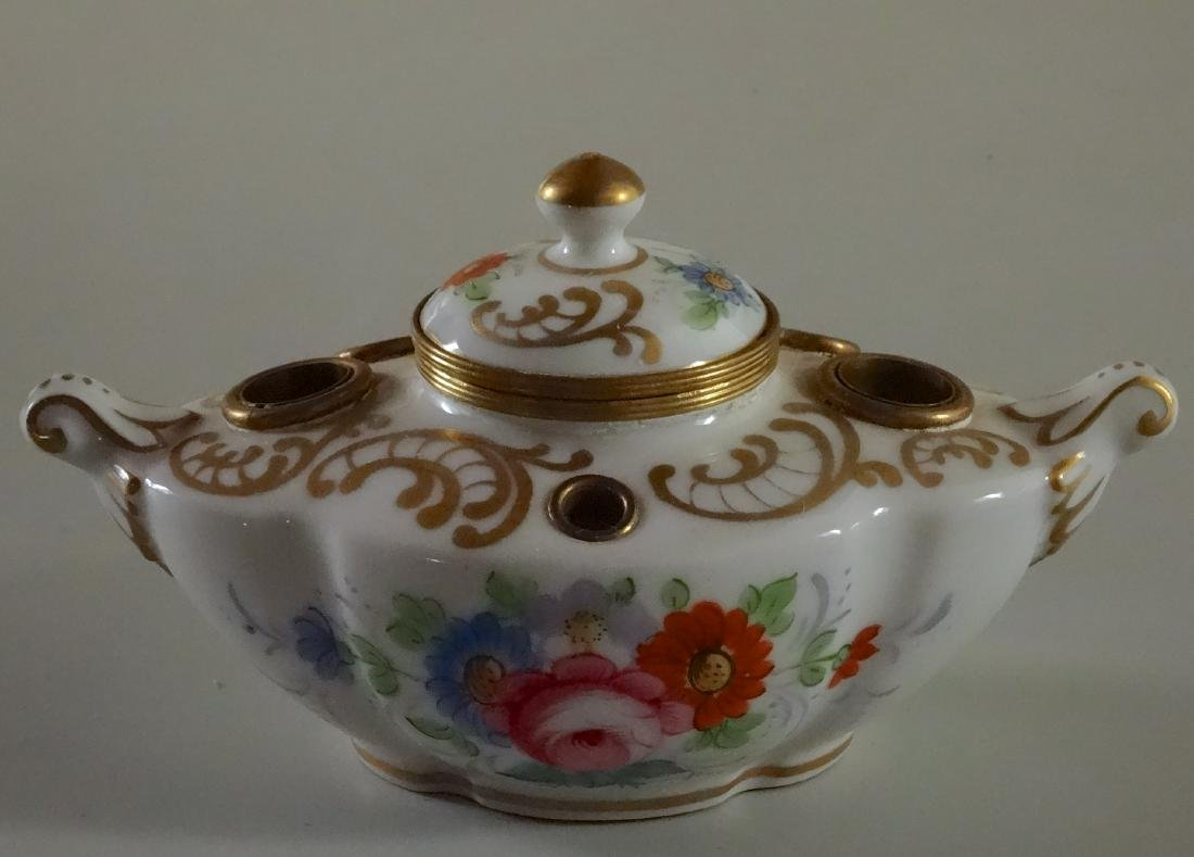 Antique French Old Paris Porcelain Inkwell
