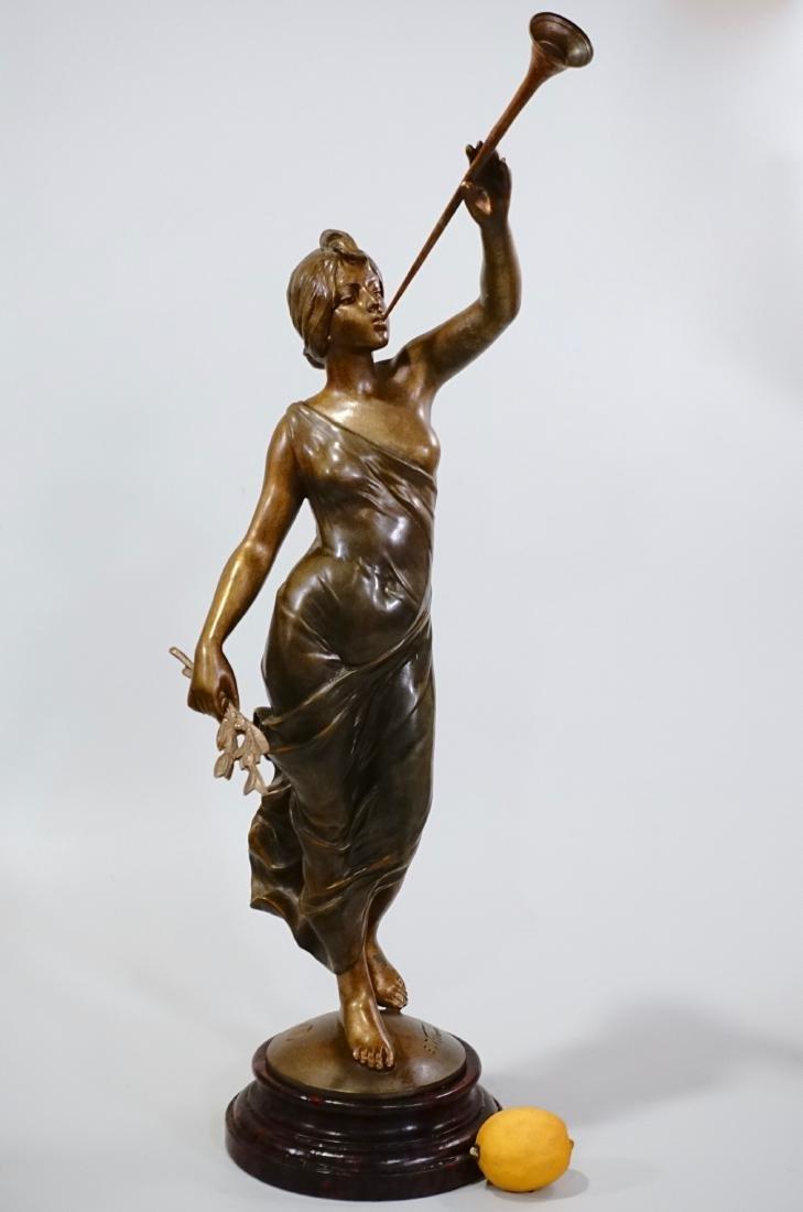 Aurora Trumpeting Figurine Bronzed Spelter After