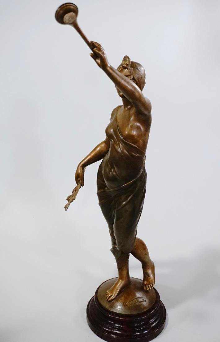 Aurora Trumpeting Figurine Bronzed Spelter After - 6