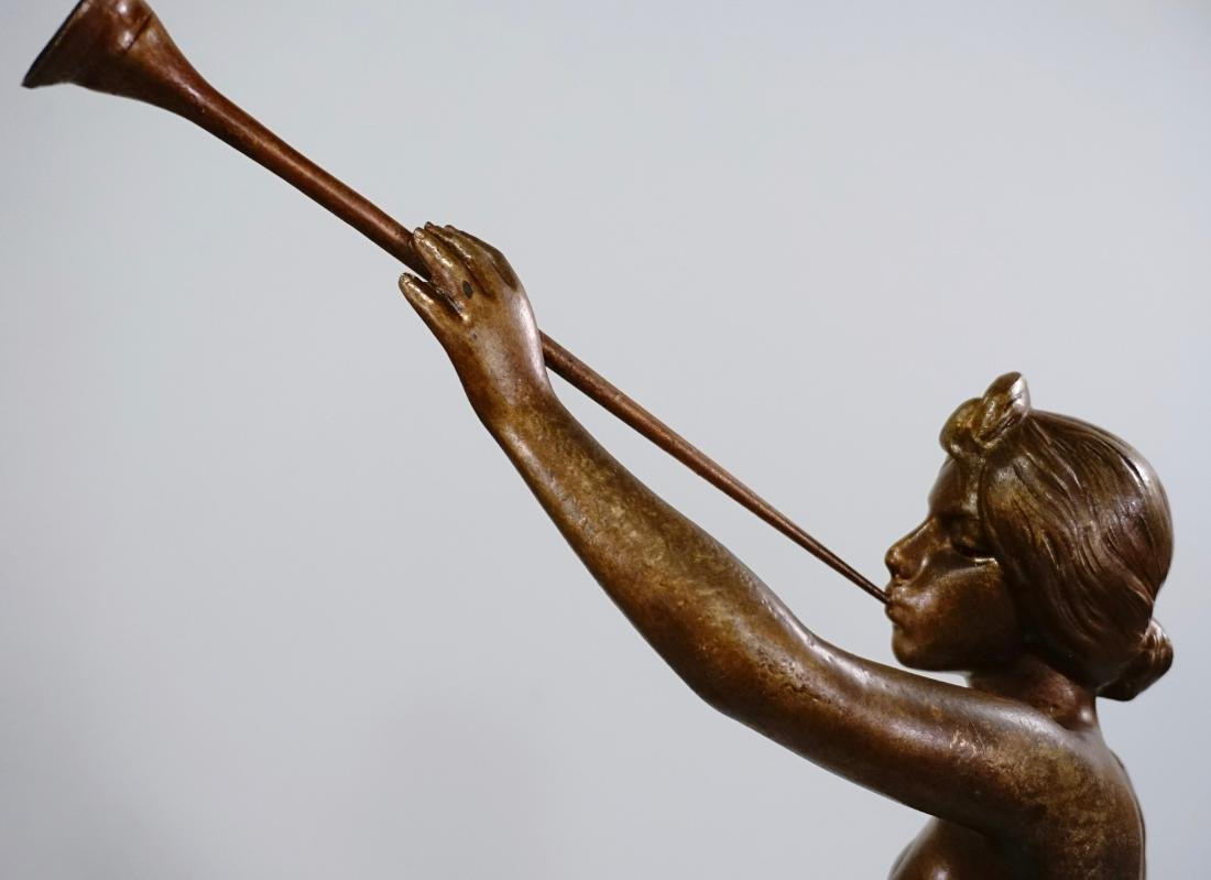 Aurora Trumpeting Figurine Bronzed Spelter After - 7