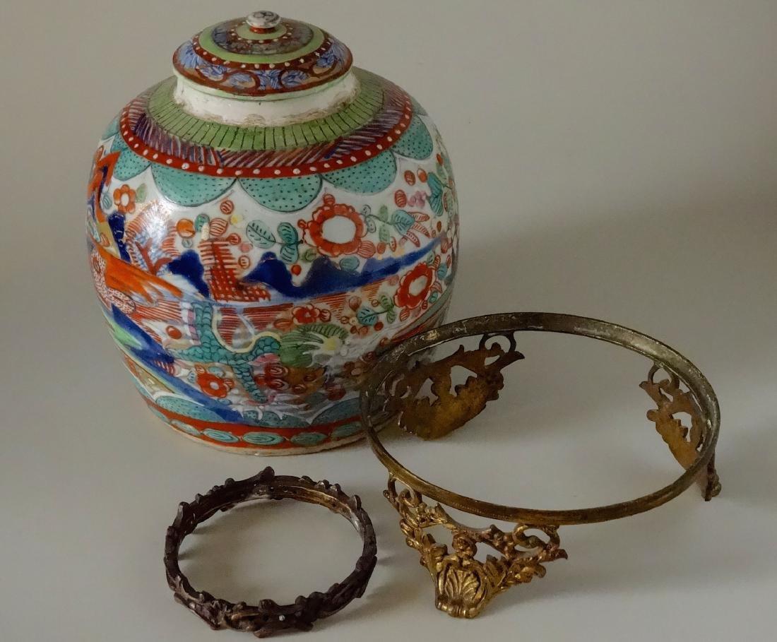 Antique Oriental Style Ginger Jar Victorian Ormolu Pede - 5
