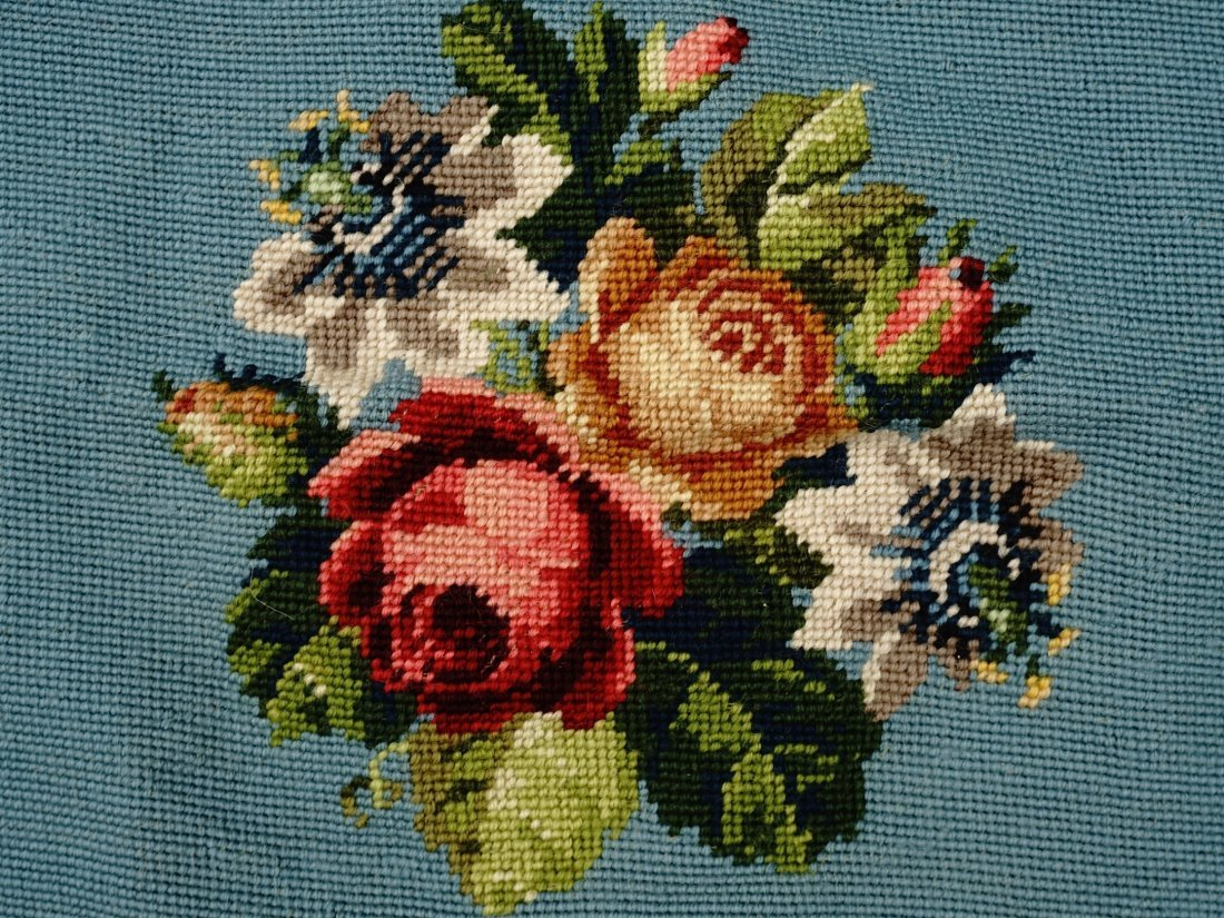 Floral Needlepoint Blue Background Bouquet Pillow