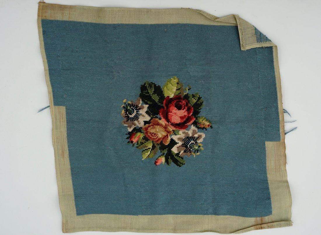 Floral Needlepoint Blue Background Bouquet Pillow - 2