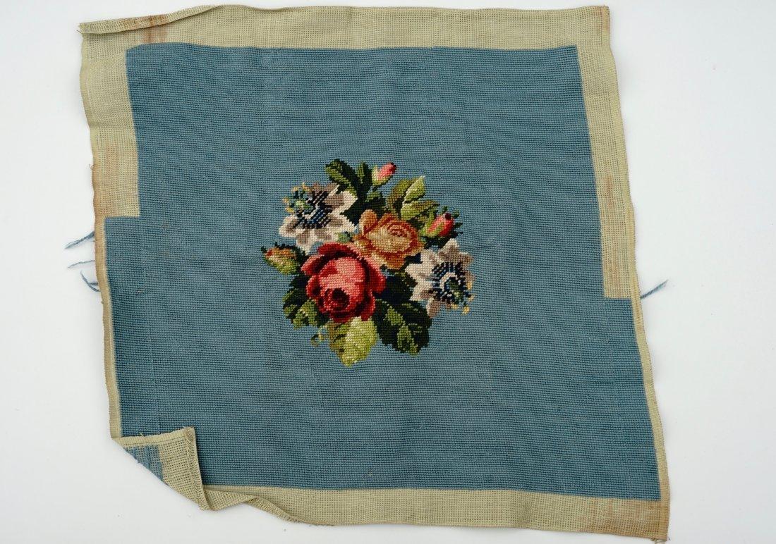 Floral Needlepoint Blue Background Bouquet Pillow - 3