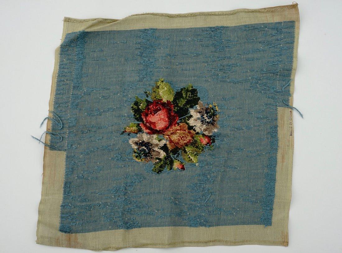 Floral Needlepoint Blue Background Bouquet Pillow - 4