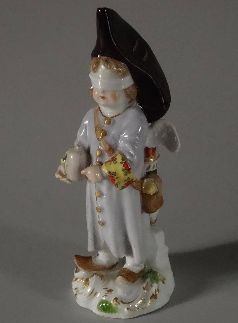Rare Meissen Porcelain Blindfolded Angel Figurine - 2