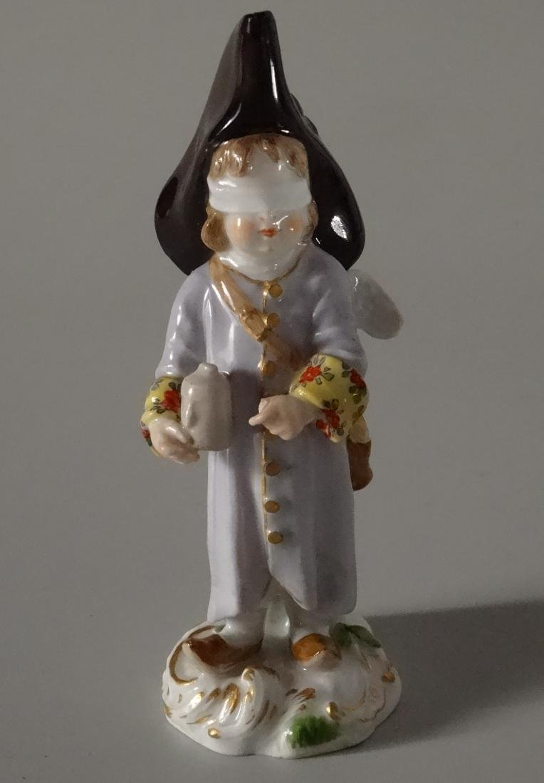 Rare Meissen Porcelain Blindfolded Angel Figurine - 8