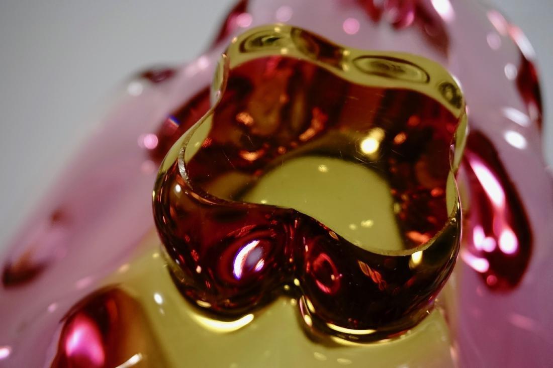 Mid Century Murano Bowl Pink Yellow Glass Centerpiece - 8