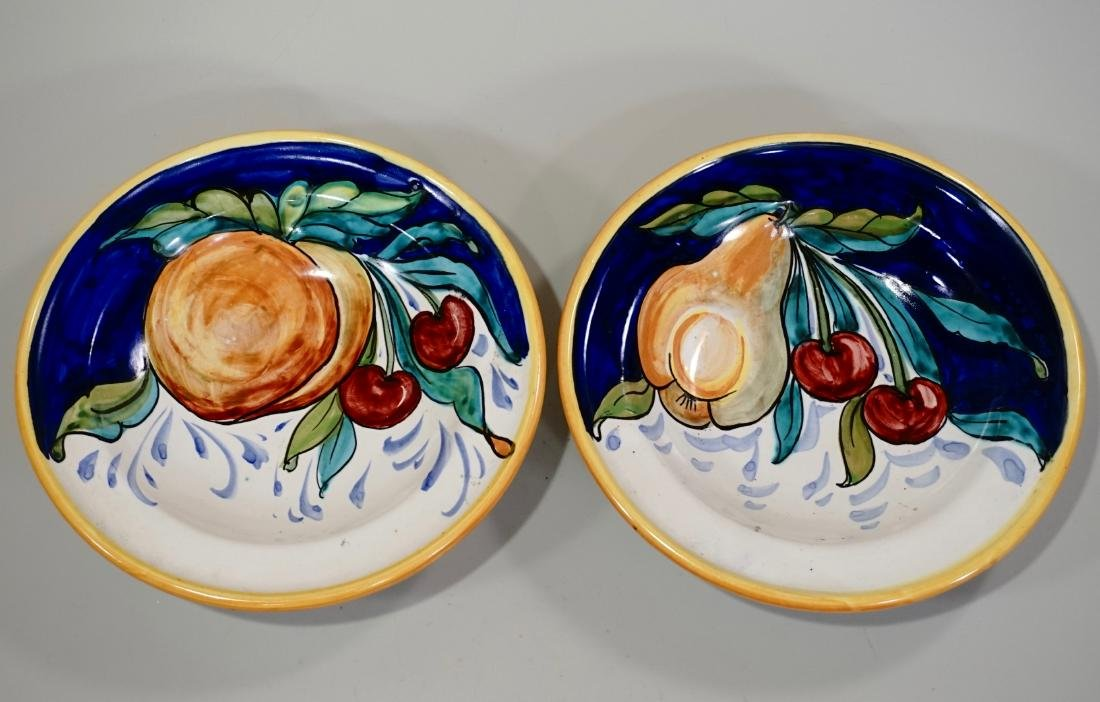 Italian Ceramic Hand Painted Bowl Wall Plaque Lot of 2