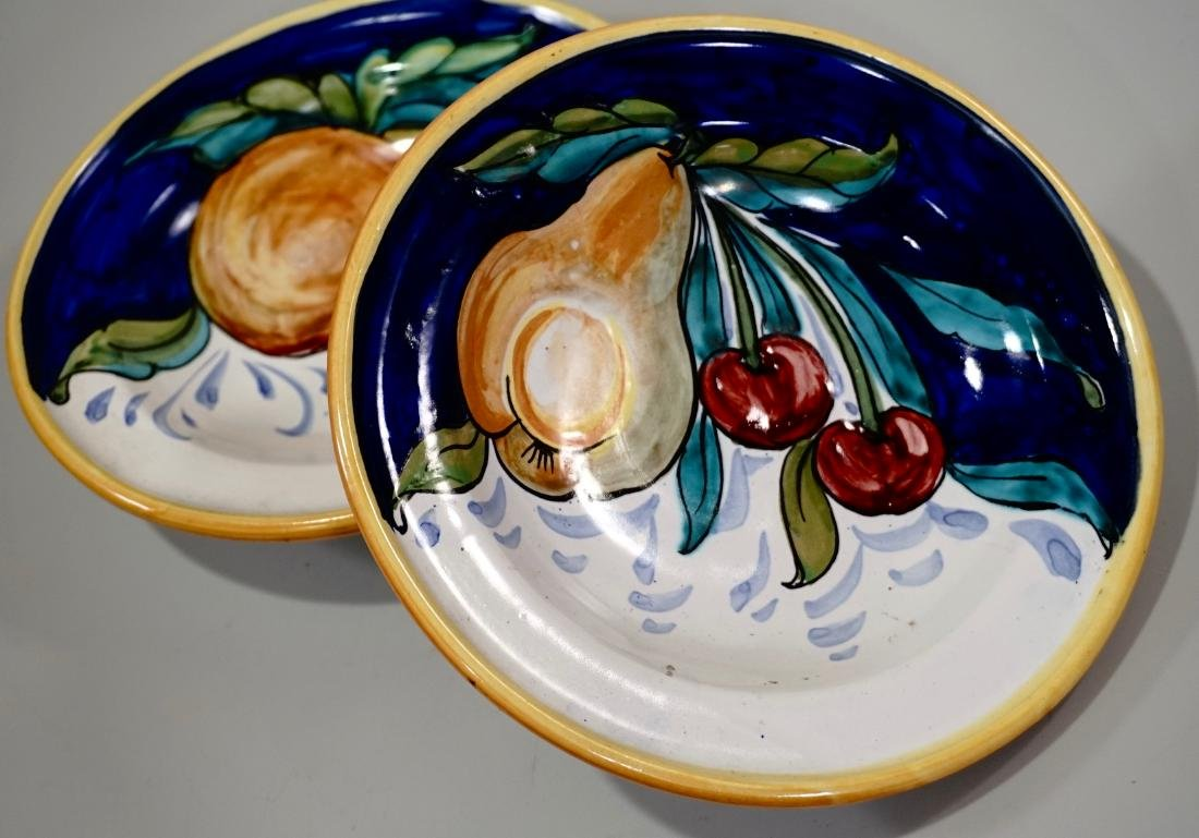 Italian Ceramic Hand Painted Bowl Wall Plaque Lot of 2 - 3