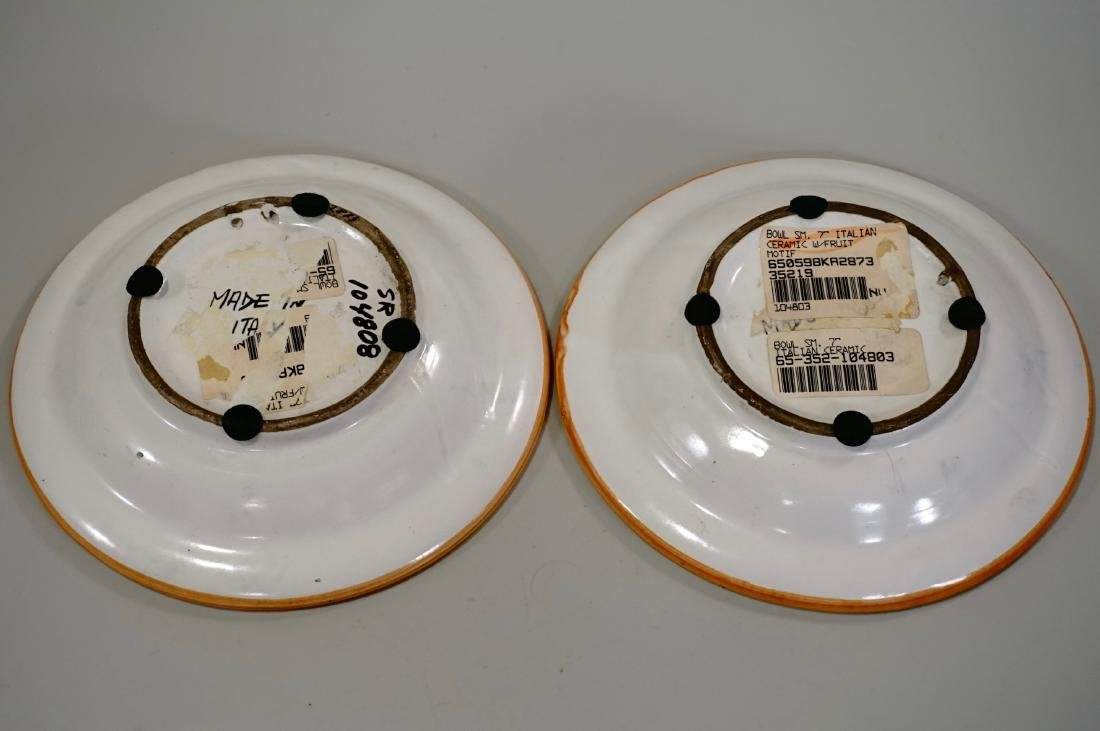 Italian Ceramic Hand Painted Bowl Wall Plaque Lot of 2 - 4